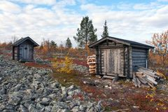Log Cabin in Deep Taiga Forest Stock Photography