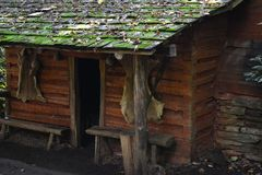 Log Cabin Entrance-CloseUp. Close-Up (at an angle) of the entrance to a Log Cabin in the Mountains with animal Skins on the Wall Royalty Free Stock Photo
