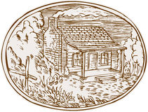 Log Cabin Farm House Oval Etching. Etching engraving handmade style illustration of a log cabin farm house with smoke coming out from chimney set inside oval Stock Photography