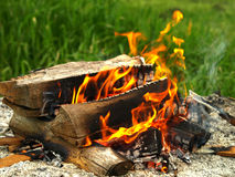 Log cabin fire. Backyard log cabin style fire Stock Image