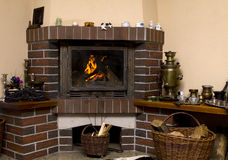 Log Cabin Fireplace Royalty Free Stock Photo