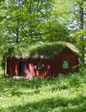 Log cabin with grass roof Stock Images
