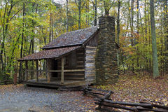 Log Cabin. Home on the Living History Farm in Kings Mountain State Park stock photography