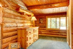 Log cabin house interior. Royalty Free Stock Images