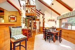 Log cabin house interior Stock Photography