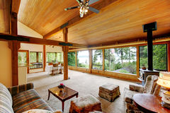 Log cabin house interior Royalty Free Stock Photography