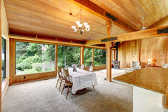 Log cabin house interior Stock Photos