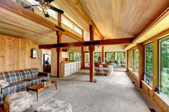 Log cabin house interior Stock Photography
