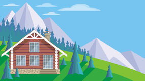 The log cabin. The image of a log house in an environment of fir trees. Beautiful summer landscape. Vector background Stock Photo