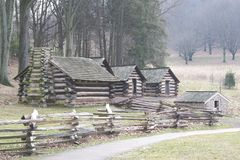 Log cabin landscape Royalty Free Stock Photography