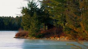 Log cabin Lean to Shelter in the Adirondack Mountains. Black River Wilderness stock video footage