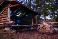 Log cabin Lean to Shelter in the Adirondack Mountains. stock image