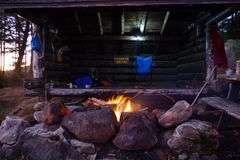 Log cabin Lean to Shelter in the Adirondack Mountains. royalty free stock image