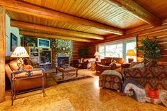 Log cabin living room interior. Stock Photography