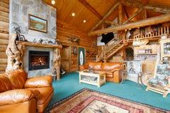 Log cabin living room Stock Image