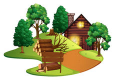 Log cabin with many trees royalty free illustration