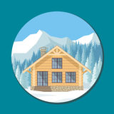 Log cabin in the mountains. The image of a chalet in snowy mountains. Beautiful winter landscape. Vector background vector illustration