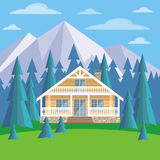 Log cabin in the mountains Royalty Free Stock Photography