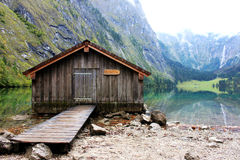 Log cabin in Obersee,koenigssee, Berchtesgaden. Log cabin stand in the shore of Obersee, a heaven style view Royalty Free Stock Image
