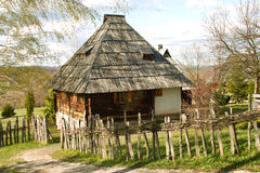 Log cabin. Old log cabin placed on Mount Zlatibor, built in a traditional mountain style. Exceptionally well-preserved and still in use. Log Cabin built on a stock photo