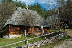 Log cabin. Old log cabin placed on Mount Zlatibor done in the traditional style, Exceptionally well-preserved and still in use. The huts were built on a rock Royalty Free Stock Images