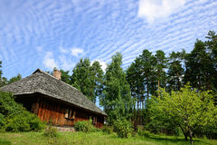 Log Cabin. Old Log Cabin in the wooded forest of evergreen trees. Open-air ethnography museum near Riga, Latvia Royalty Free Stock Photography