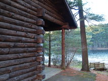 Log Cabin Overlooking Lake Royalty Free Stock Image