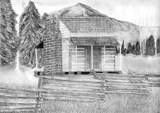 Log Cabin Pencil Drawing Royalty Free Stock Photography