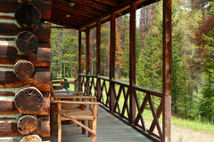 Log cabin porch Stock Photo