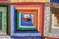 Log Cabin Quilt Square Red and Blue Royalty Free Stock Images