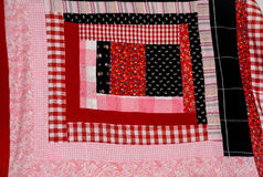 Log Cabin Quilt Square Red and Pink Royalty Free Stock Images