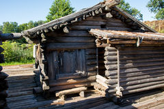 Log cabin. In reconstructed 9th-10th century fortified settlement Araisi Lake Castle in Latvia Royalty Free Stock Images