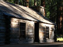 log cabin in redwoods Royalty Free Stock Images