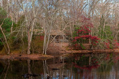 Log Cabin by Reflecting Pond. A log cabin in thew woods of a park near a pond that reflects nearby foliage Royalty Free Stock Photography