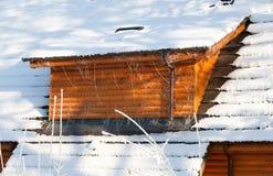 Log cabin roof stock photos
