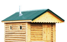 Log cabin, sauna exterior, rustic house or Finnish saunas - isol Royalty Free Stock Photo