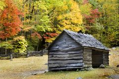 Log Cabin Smoky Mountains. Pioneer era log cabin on ogle farm, located in the Great Smoky Mountains National Park Stock Photography