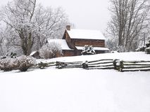 Log cabin in snow. Log cabin covered in falling snow.  Zebulon Vance (37th and 43rd Governor of North Carolina) birthplace.  Weaverville, NC. USA Royalty Free Stock Photo