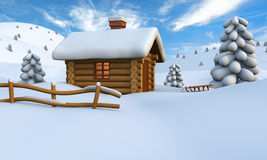 Log cabin in snow. 3D illustration of a cute little wooden hut in the middle of snowy countryside stock illustration