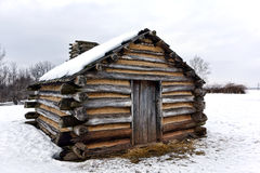 Log Cabin in Snow at Valley Forge National Park Stock Photography