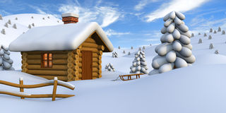 Log cabin in snowy countryside. 3D illustration of a cute little wooden hut in the middle of snowy countryside stock illustration