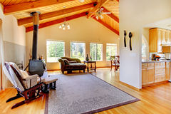 Log cabin style house interior. Stock Photography