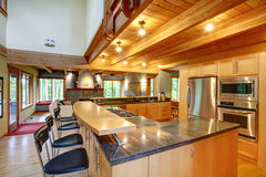 Log cabin style. Kitchen interior Royalty Free Stock Photos