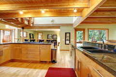 Log cabin style. Kitchen interior Royalty Free Stock Images
