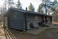 Log Cabin in in Taiga Forest Stock Images