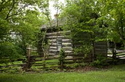Log cabin in trees Royalty Free Stock Images