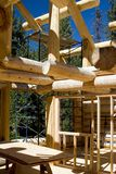 Log Cabin under Construction. In the mountains Stock Photos