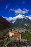 Log cabin under the Snow Mountain in Shangri-La Stock Photography