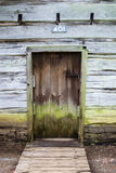 Log Cabin Wall and Door Stock Photo
