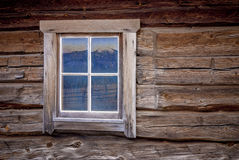 Log Cabin Window With Mountain Reflection Stock Image Image Of